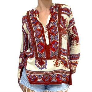 "Anthropologie ""Tiny"" Paisley Peasant Blouse XS"